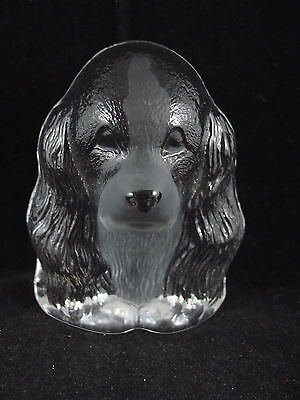 Mats Jonasson Paperweight - Dog / Spaniel- Signed