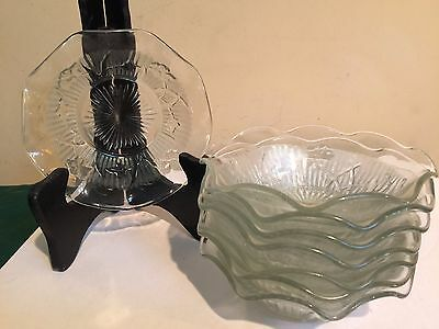 Jeanette Glass Herringbone and Iris Fruit/Sauce/Berry Bowls - 8