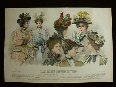 Mode Hutmode Hüte Hats Chapeaux , Farblithographie datiert 1895