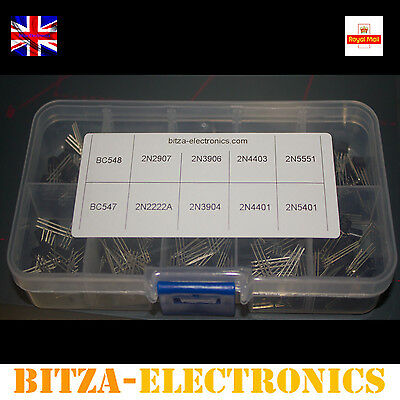 10 value 200pcs Bipolar Transistor TO-92 Box Kit BC548-2N5401 UK Seller