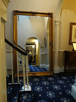 HUGE XL Reproduction Antique Victorian gold gilt French Wall hall leaner mirror