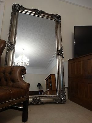HUGE!!!! Reproduction Antique Victorian silver French Wall hall leaner mirror b