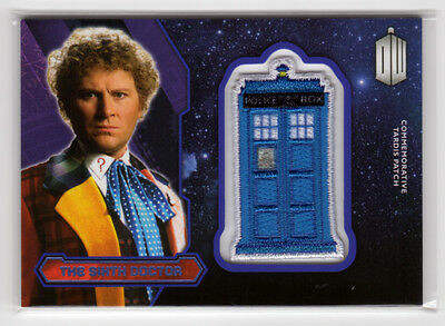 Topps Doctor Who 2015 The Sixth Doctor Purple Parallel Tardis Patch Card 53/99