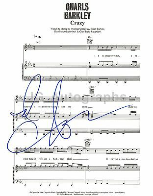 """Gnarls Barkley - CeeLo Green - Authentic Autographed """"Crazy"""" Sheet Music"""