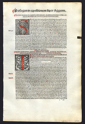 1498 St Jerome's Commentary on The Bible Exquisite Woodblocks Hand-Colored