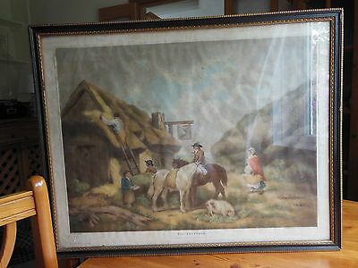 FRAMED ANTIQUE PRINT - 'THE THATCHER' by GEORGE MORLAND 1806-ENGRAVED by W.WARD