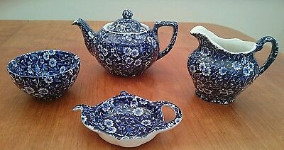 Burleigh Ware Calico Teapot,jug,sugar Bowl+Tbag Holdespoon Rest-Excellent Unused