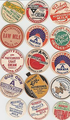 Lot Of 15 Different Milk Bottle Caps. All Named Dairies. #1