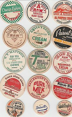 Lot Of 15 Different Milk Bottle Caps. All Named Dairies. #3