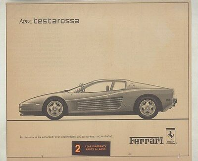 1987 Ferrari Testarossa Newspaper Ad ww4113