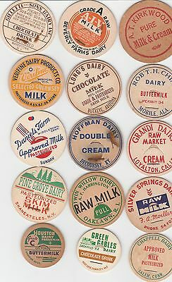 Lot Of 15 Different Milk Bottle Caps. All Named Dairies. #5