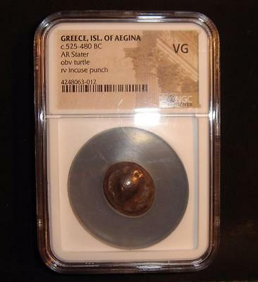Greece Isle of Aegina 525-480 BC Silver Turtle, Incuse punch AR Stater NGC