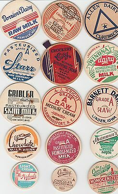 Lot Of 15 Different Milk Bottle Caps. All Named Dairies. #8