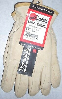 Lambert 001 Off-White Goatskin Leather Gloves Size Small w Defects