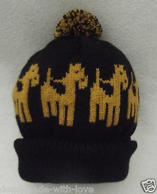 AIREDALE/WELSH TERRIER dog Knitted beanie pompom bobble ADULT size HAT