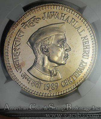 India 20 Rupees 1989 (B) MS67 NGC KM#244 Nehru Birth FINEST & ONLY Mint State