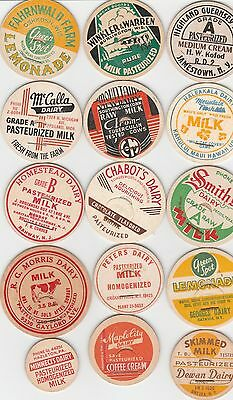Lot Of 15 Different Milk Bottle Caps. All Named Dairies. #11