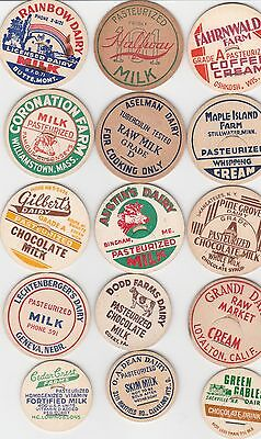 Lot Of 15 Different Milk Bottle Caps. All Named Dairies. #12