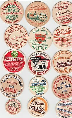 Lot Of 15 Different Milk Bottle Caps. All Named Dairies. #13