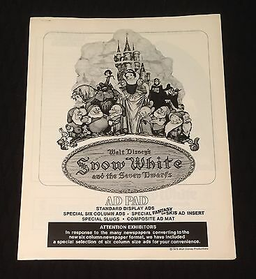 1975 Original Disney SNOW WHITE Ad Pad Never Used By Theater