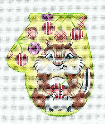 *NEW* ~ Chipmunk Mitten handpainted Needlepoint Ornament by KAMALA Juliemar