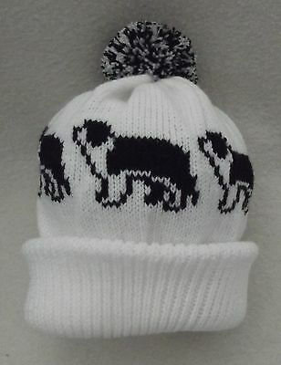 BEARDED COLLIE dog  Knitted white & black ADULT size Beanie HAT