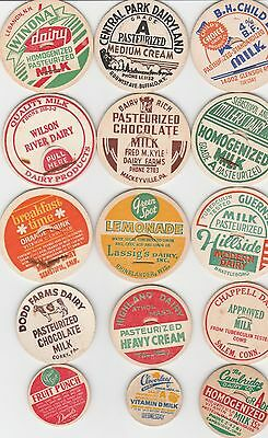 Lot Of 15 Different Milk Bottle Caps. All Named Dairies. #16