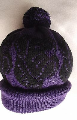 BOXER dog  Knitted PURPLE Adult size beanie pompom bobble HAT