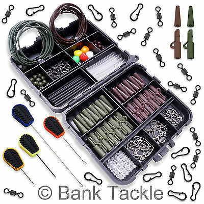 Carp Fishing Tackle Box Set Lead Clips Swivels Beads Hooks Baiting Needles (BS1)