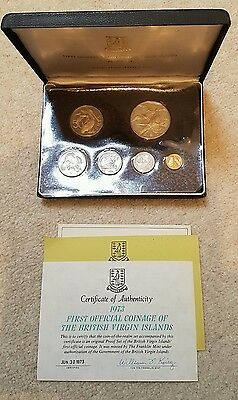 BRITISH VIRGIN ISLANDS 1973 6 COIN PROOF SET WITH SILVER $1 - sealed/complete