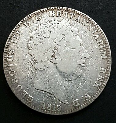 1819 King George III Silver Crown Coin - LX - Great Britain