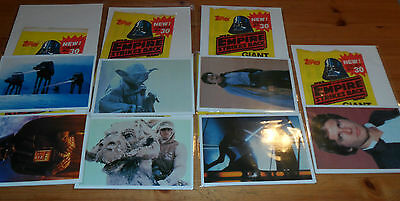 7x 1980 Star Wars The Empire Strikes Back Giant Full Color Photocards YODA sOLO