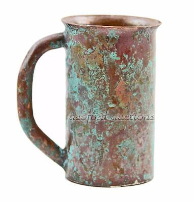 "Vintage Antique Art's & Crafts 5"" Heavy Copper Primitive Beer Mug - Great Patina"