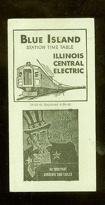 1942 Blue Island Illinois Central Electric train time table