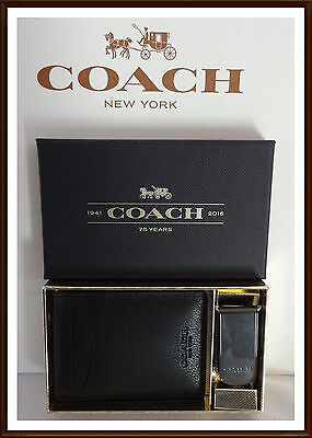 NWT NEW $95 Coach Men's Leather ID Black Leather Wallet & Money Clip Gift Set