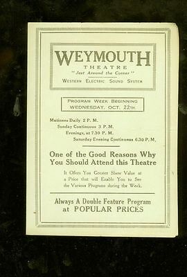 1930 Weymouth (MA.) Theatre movie house 4-page advertising program