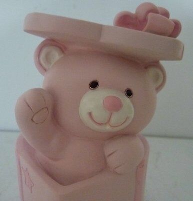 Baby Girl Keepsake Teddy Bear Money Box Christening Baby Shower Newborn Gift Bn