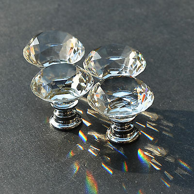 10 zinc alloy clear glass crystal sparkle cabinet drawer door pulls knobs handle