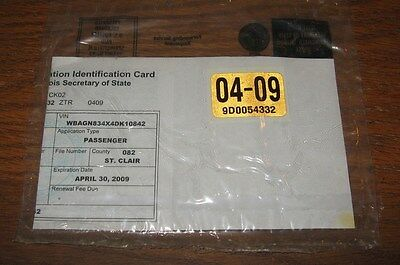 April 2009 Illinois License Plate Sticker & Registration (Free Shipping) Sealed