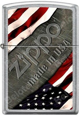 Zippo American Flag with Steel Background Made In USA Satin Chrome Lighter NEW