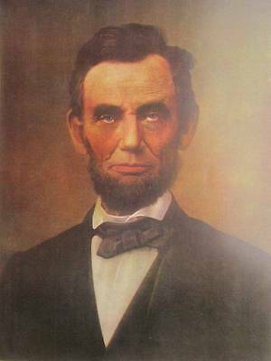 Color Portrait Of President Abraham Lincoln Painting 8x10 Real Canvas Art Print