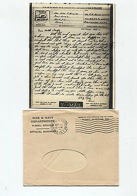 WW 2 V-Mail letter with envelope  mailed from Germany in 1945 to Dillsburg Pa