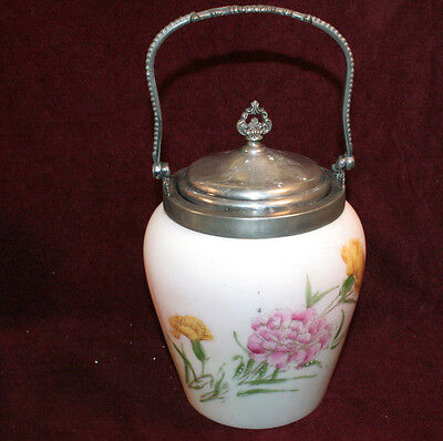 Very Collectible Milk Glass Biscuit Jar with VanBergh Silver Lid & Bale Handle