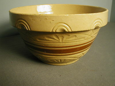 "VINTAGE ROSEVILLE OHIO MIXING BOWL - GOLD W/ BROWN STRIPE - 9"" W X 4 3/4"" H - pp"