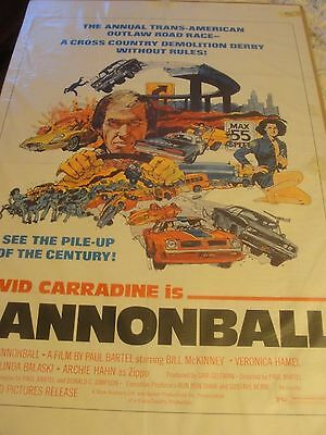 Original Vintage Movie Poster DATED 1976 DAVID CARRADINE IS CANNONBALL 42""