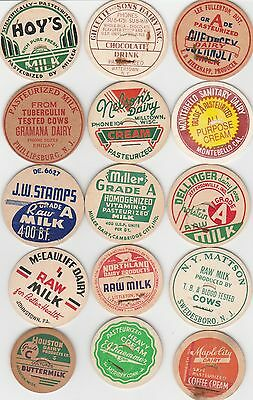 Lot Of 15 Different Milk Bottle Caps. All Named Dairies. #29