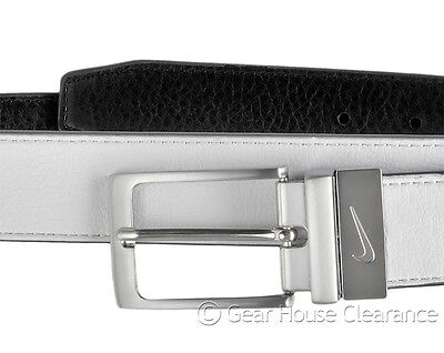 New NIKE GOLF Mens Faux Leather Casual Belt Silver Buckle Reversible White Black