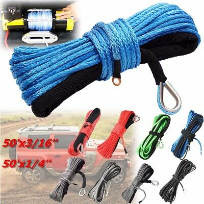 "1/4""X50'  3/16""X50' Synthetic Winch Line Cable Rope with Sheath SUV ATV Vehicle"