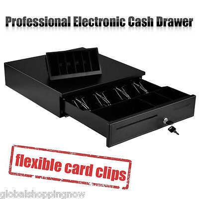 Heavy Duty Electronic/Manual Cash Drawer Cash Register POS 4 Bills 8 Coins Tray