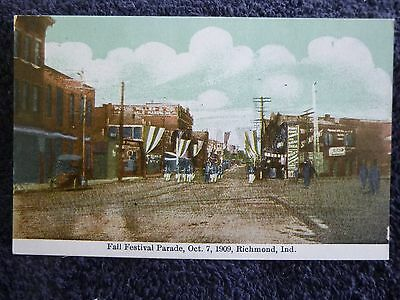 Early 1900's The Fall Festival Parade in 1909 in Richmond, In Indiana PC